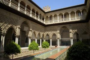Courtyard Garden, Alcazar, UNESCO World Heritage Site, Seville, Andalucia, Spain, Europe by Peter Barritt