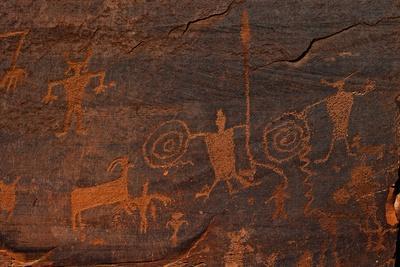 Horned Anthropomorphs Holding Shields, Utah Scenic Byway 279, Potash Road, Moab, Utah, USA