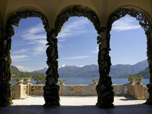 Loggia and Gardens of Villa del Balbianello on Punta di Lavedo, Lenno, Lake Como, Italy by Peter Barritt