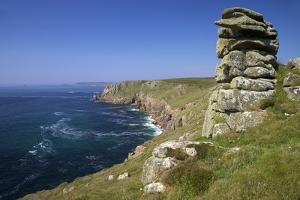 Looking to Sennen Cove from Lands End, Summer Sunshine, Cornwall, England, United Kingdom, Europe by Peter Barritt