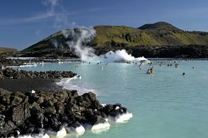 Outdoor Geothermal Swimming Pool and Power Plant at the Blue Lagoon, Iceland, Polar Regions by Peter Barritt
