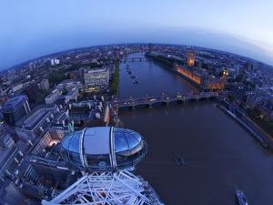 Passenger Pod Capsule, Houses of Parliament, Big Ben, River Thames from London Eye, London, England by Peter Barritt