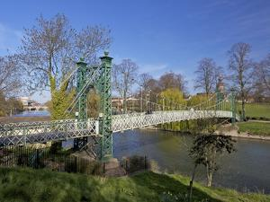 Pedestrian Suspension Bridge Over River Severn, the Quarry Park, Shrewsbury, Shropshire by Peter Barritt
