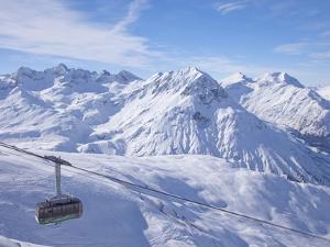 Rufikopf Cable Car, Stubenbach, Lech, Near St. Anton Am Arlberg, in Winter Snow, Austrian Alps by Peter Barritt