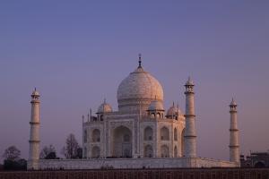 Taj Mahal North Side Viewed across Yamuna River at Sunset, Agra, Uttar Pradesh, India, Asia by Peter Barritt