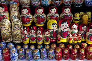 Traditional Russian Dolls on Sale, St. Petersburg, Russia, Europe by Peter Barritt