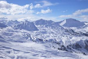 View of Slopes Near Belle Plagne, La Plagne, Savoie, French Alps, France, Europe by Peter Barritt