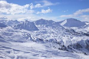 View of Slopes Near Belle Plagne, La Plagne, Savoie, French Alps, France, Europe by Peter Barritt