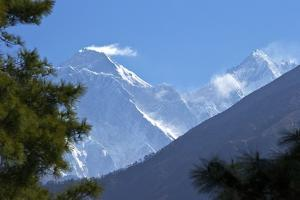View to Mount Everest and Lhotse from the Trail Near Namche Bazaar, Nepal, Himalayas, Asia by Peter Barritt