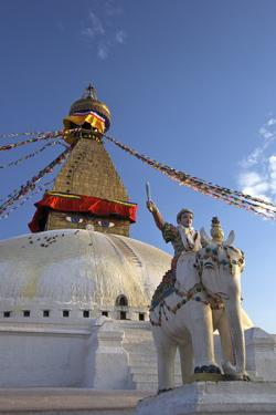 Warrior on Elephant Guards the North Side of Boudhanath Stupa by Peter Barritt