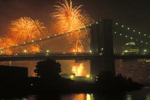 4th of July, Brooklyn Bridge, New York, USA by Peter Bennett