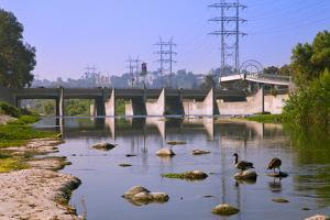 Los Feliz Blvd Bridge over Los Angeles River. Los Angeles, California by Peter Bennett
