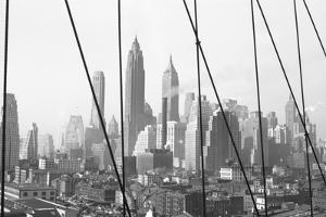 Lower Manhattan Skyline from Brooklyn Bridge, 1947, New York, USA by Peter Bennett