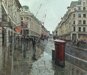 Regent Street, Rain, Looking North, 2014 by Peter Brown