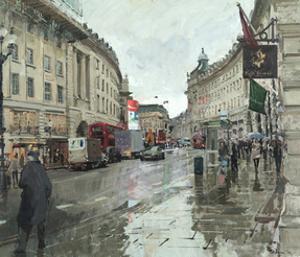 Regent Street, Rain, Looking South, 2014 by Peter Brown