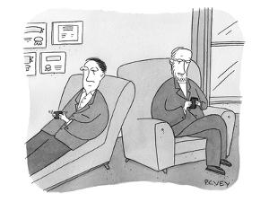 A man is on the couch in his therapist's office and they are texting each … - New Yorker Cartoon by Peter C. Vey