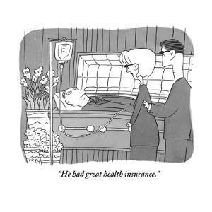 """""""He had great health insurance."""" - New Yorker Cartoon by Peter C. Vey"""