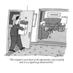 """""""The computers went down at the supermarket, and everybody took it as a si…"""" - New Yorker Cartoon by Peter C. Vey"""