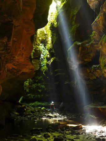A Canyoneer and Midday Shaft of Light in a Moss Covered Passage by Peter Carsten