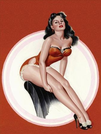 Mid-Century Pin-Ups - Eyeful Magazine - Brunette in a Red Bathing suit by Peter Driben