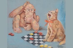 Monkey and Cat Playing Checkers by Peter Driben