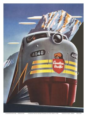 Canadian Pacific Railway Company - Diesel Locomotive Train - CPR Logo Beaver Shield by Peter Ewart