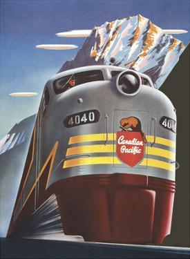 Canadian Pacific Railway Company - Diesel Locomotive Train - CPR Logo Beaver Shield by Peter Ewart