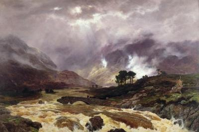 A Spate in the Highlands, 1866 by Peter Graham
