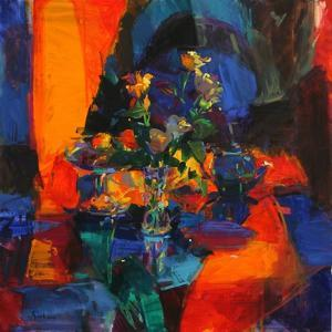 Roses on a Blue Ground by Peter Graham