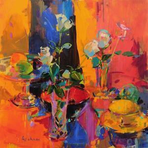 Still Life Table with Roses and Fruit by Peter Graham