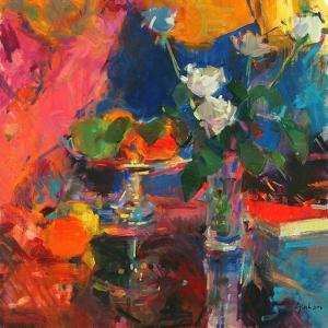 Still Life with White Roses by Peter Graham