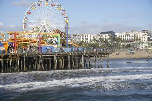 Sea, pier and ferris wheel, Santa Monica, California, United States of America, North America by Peter Groenendijk