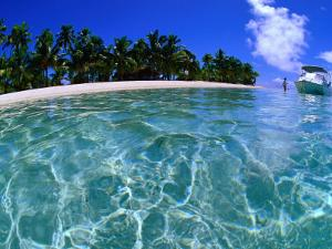 Boat at One Foot Island, Cook Islands by Peter Hendrie