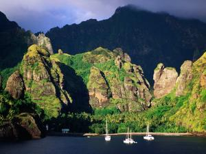 Boats Moored at the Bay of Virgins, Fatu Hiva Island, Marquesas, The, French Polynesia by Peter Hendrie