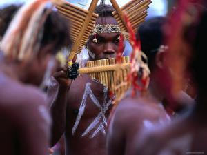 Man Playing Panpipe, Malaita Island, Malaita, Solomon Islands by Peter Hendrie