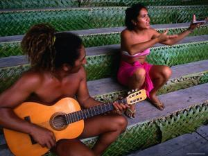 Polynesian Musicians, Tahiti, the Society Islands, French Polynesia by Peter Hendrie