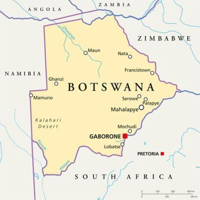 Botswana Political Map by Peter Hermes Furian