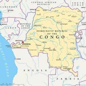 Congo Democratic Republic Political Map by Peter Hermes Furian