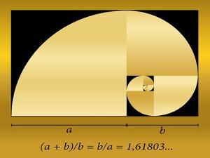 Golden Cut, Shown as a Spiral out of Quadrants, plus Formula. Vector Illustration. by Peter Hermes Furian