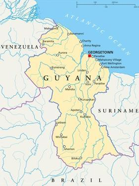Guyana Political Map by Peter Hermes Furian