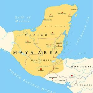 Maya High Culture Area Map by Peter Hermes Furian