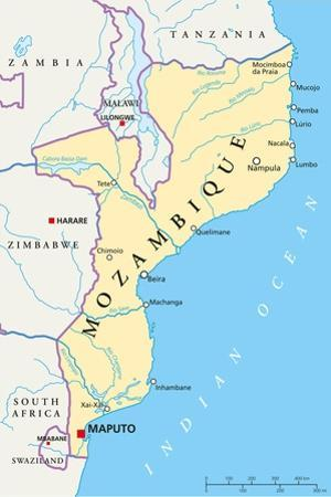 Mozambique Political Map by Peter Hermes Furian