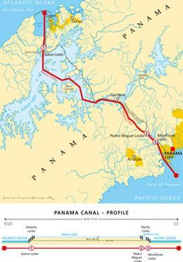 Panama Canal Political Map by Peter Hermes Furian