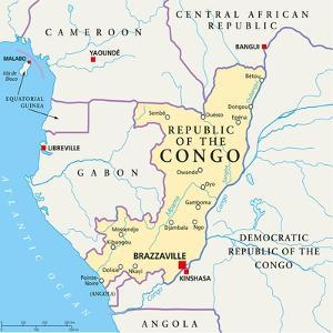 Republic of the Congo Political Map by Peter Hermes Furian