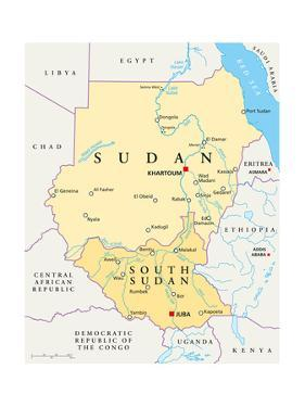 Sudan and South Sudan Political Map by Peter Hermes Furian