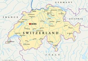 Switzerland Political Map by Peter Hermes Furian