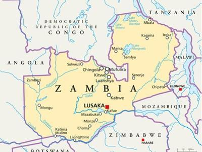Zambia Political Map by Peter Hermes Furian