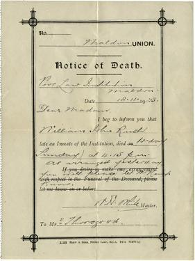 Notice of Death from Union Workhouse, Maldon, Essex by Peter Higginbotham