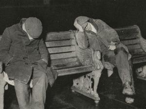 Vagrants Asleep on Bench on Thames Embankment, London by Peter Higginbotham