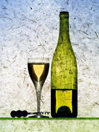 White Wine Glass, Half-Full White Wine Bottle and Corkscrew by Peter Howard Smith